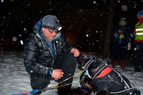 Gjett om Dag Torulf er sliten etter to etapper på strak arm. Uansett: Hundene føst. Foto: Ole Chr. Gulbrandsen