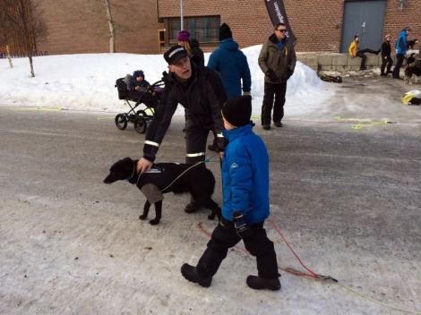 Tore med en av hundene før start. Foto: Ole Chr. Guldbrandsen