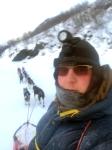 Dag Torulf på vei nedover Flågan med Dina og Petoska i led.