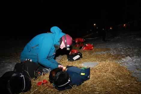 Dag Torulf tar seg av hundene før avgang fra Levajok 2, torsdag kveld. Fotol: Eirik Palm