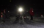 Innkomsten i Varangerbotn med mottakelse og applaus fra publikum. Foto: Eirik Palm