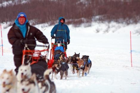 Dag Torulf ankommer sjekkpunkt Levajok 2 ti meter bak May-Conny Johansen. Nå blir det mat og hvil, før ferden fortsetter. Foto: Eirik Palm