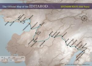 Ruta til Iditaqrod-løpet.