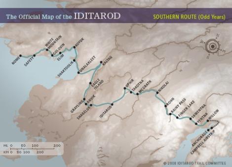 Ruta til Iditaqrod-løpet. Det nordlige- og sørlige alternativet velges ut fra værforhold, overvann og åpne elver.